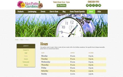 Screenshot of Hours Page vanputte.com - Hours | Rochester NY | Van Putte Gardens - captured Sept. 29, 2018