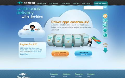 Screenshot of Home Page cloudbees.com - CloudBees: Continuous Delivery with Jenkins - captured July 17, 2014