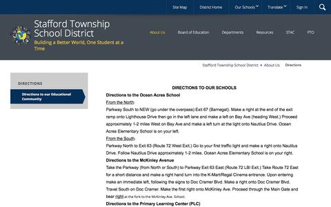 Screenshot of About Page Maps & Directions Page staffordschools.org - Directions / Directions to our Educational Community - captured Oct. 24, 2017