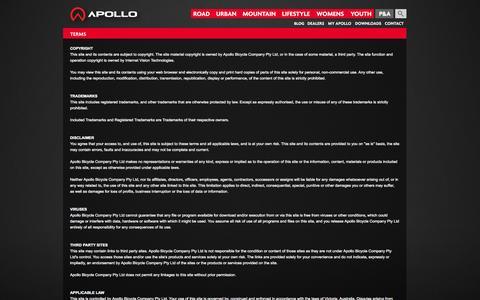 Screenshot of Terms Page apollobikes.com - Terms - Apollo Bikes - captured Oct. 4, 2014