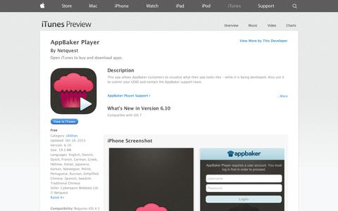 Screenshot of iOS App Page apple.com - AppBaker Player on the App Store on iTunes - captured Oct. 23, 2014