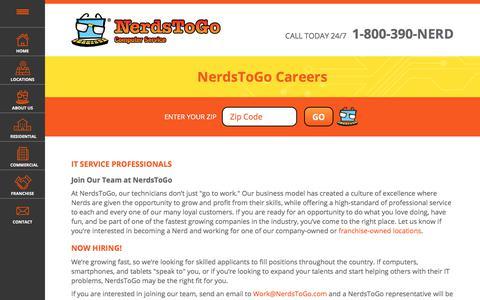 Screenshot of Jobs Page nerdstogo.com - Careers At NerdsToGo | IT Service Experts | Computer Repair Careers - captured Sept. 20, 2018