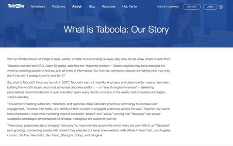 What Is Taboola | Our Story | Taboola.com
