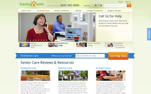 Screenshot of Home Page caring.com - Senior Care: Housing, Home Care, Community, Articles - captured July 11, 2014