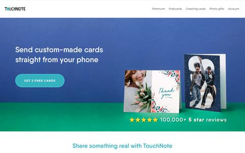 Screenshot of Home Page touchnote.com - TouchNote - Send Personalised Cards and Photo Gifts - captured Feb. 7, 2020