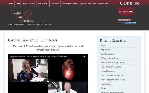 Screenshot of Press Page flccg.com - Cardiac Care Group, LLC: News - CCG | Cape Coral, FL - captured Oct. 22, 2016