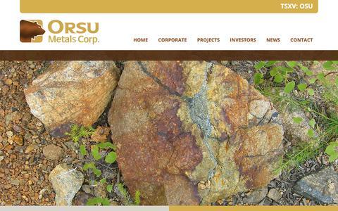 Screenshot of Home Page orsumetals.com - Home | Orsu Metals Corp. - captured Oct. 21, 2017