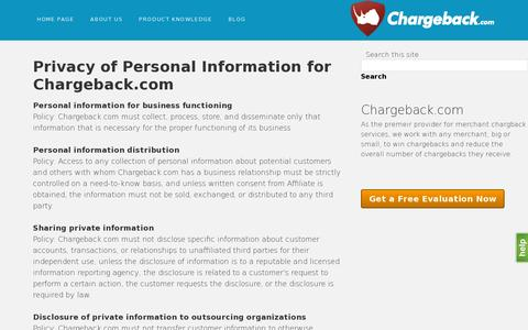 Screenshot of Privacy Page chargeback.com - Chargeback.com privacy policy - captured July 18, 2014
