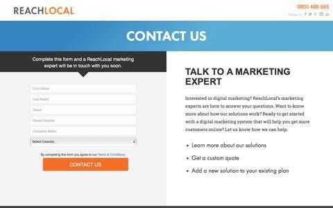 Screenshot of Landing Page reachlocal.com - ReachLocal Contact Us - captured April 18, 2016