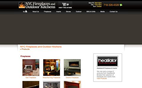 Screenshot of Products Page nycfireplaces.com - Fireplaces, BBQ & Grills, Outdoor Living: NYC Fireplaces and Outdoor Kitchens - captured Feb. 16, 2016
