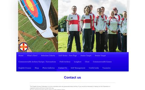 Screenshot of Contact Page englisharcheryfederation.org - English Archery Federation - Contact Us - captured Oct. 25, 2018