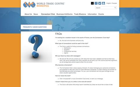 Screenshot of FAQ Page wtcwinnipeg.com - Frequently Asked Questions | WORLD TRADE CENTRE Winnipeg - captured Nov. 2, 2014
