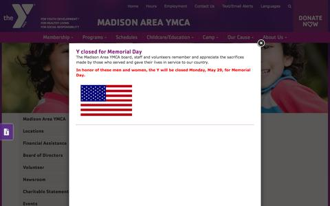 Screenshot of Hours Page madisonareaymca.org - The Madison Area YMCA | Hours - captured May 25, 2017