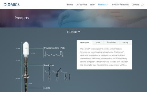 Screenshot of Products Page diomics.com - Products | Diomics - captured July 12, 2018