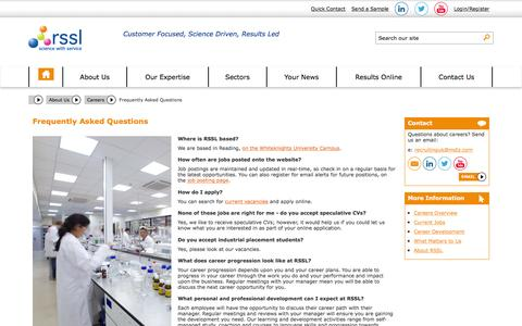 Screenshot of FAQ Page rssl.com - Frequently Asked Questions - Careers | RSSL - captured Feb. 14, 2016