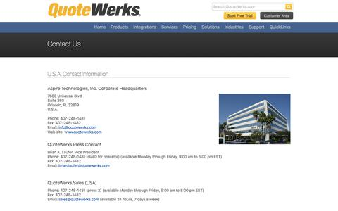 Screenshot of Contact Page quotewerks.com - QuoteWerks - Contact Us - captured Sept. 16, 2019