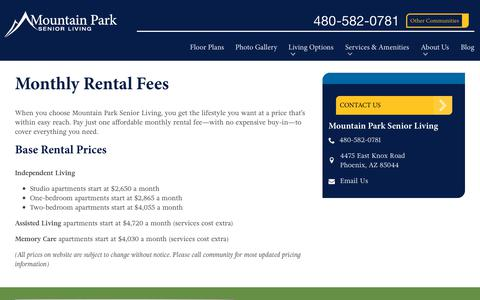 Screenshot of Pricing Page spectrumretirement.com - Monthly Rental Pricing   Mountain Park Senior Living - captured Oct. 23, 2018
