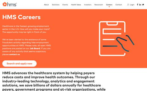 Screenshot of Jobs Page hms.com - Careers - captured March 30, 2019