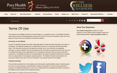 Screenshot of Terms Page purehealthchiro.com - Pure Health Chiropractic - Chiropractor In Calgary, Alberta Canada :: Terms Of Use - captured Oct. 3, 2014