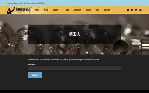 Screenshot of Press Page mondaynightbrewing.com - Media Login - captured Oct. 26, 2014