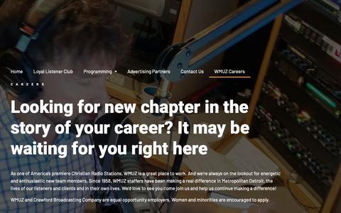 Screenshot of Jobs Page wmuz.com - Start a Career with WMUZ | WMUZ - captured Dec. 16, 2018