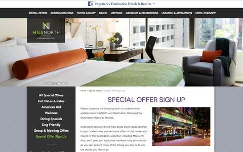 Screenshot of Signup Page milenorthhotel.com - Magnificent Mile Hotel Deals | MileNorth Hotel – Special Offers Sign Up - captured Nov. 4, 2014