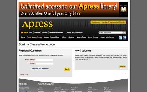 Screenshot of Login Page apress.com - Customer Sign In - captured Sept. 18, 2014