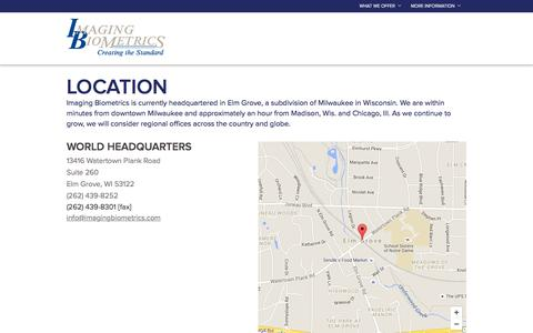Screenshot of Contact Page Locations Page imagingbiometrics.com - Locations :: Imaging Biometrics - captured Feb. 10, 2016