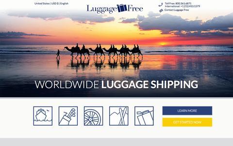 Screenshot of Home Page luggagefree.com - Home - Luggage Shipping - Ship Luggage - Luggage Free - captured Jan. 21, 2015