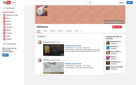 Screenshot of YouTube Page youtube.com - D2PGames  - YouTube - captured Oct. 23, 2014