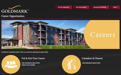 Screenshot of Jobs Page goldmark.com - Career Opportunities - GOLDMARK Property Management, Inc. - captured Aug. 28, 2017