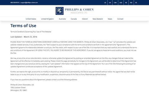 Screenshot of Terms Page phillips-cohen.com - Terms - Phillips & Cohen Associates (International) - captured July 30, 2017