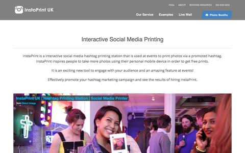 Screenshot of Home Page instaprintuk.com - Twitter / Instagram Print Station | Hashtag Promote at Events - captured Aug. 5, 2016