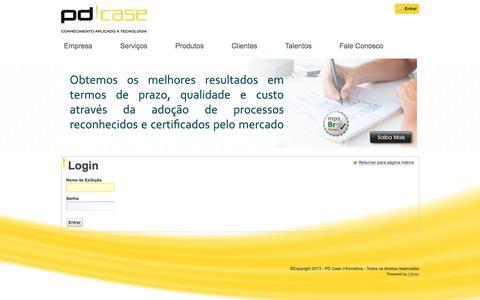 Screenshot of Login Page pdcase.com - Principal - PD|Case - captured Oct. 6, 2016