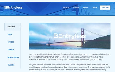 Screenshot of About Page entryless.com - Entryless About Us - captured Sept. 25, 2014