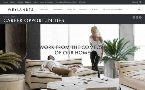 Screenshot of Jobs Page weylandts.co.za - Career Opportunities In Interiors & Retail At Weylandts South Africa - captured Oct. 1, 2017