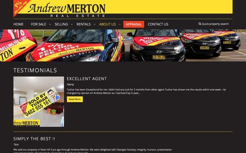 Screenshot of Testimonials Page andrewmerton.com.au - Andrew Merton Real Estate - Testimonials - captured Oct. 3, 2018
