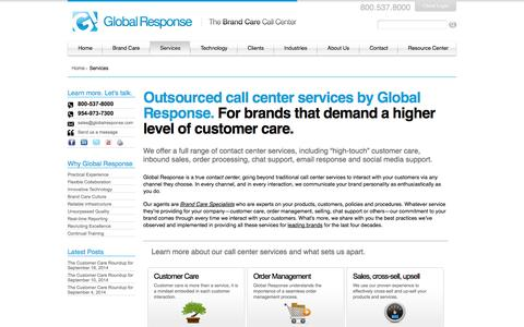 Screenshot of Services Page globalresponse.com - Call Center Sevices | Customer Care, Support, and Help Desk Services - captured Oct. 10, 2014