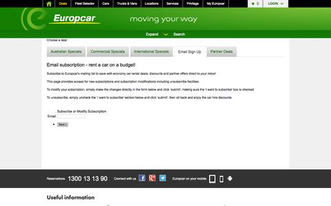 Screenshot of Signup Page europcar.com.au - Email signup - join today to enjoy economy car rental deals from Europcar Australia - captured Sept. 22, 2014