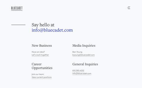 Screenshot of Contact Page bluecadet.com - Contact | Bluecadet - captured Aug. 3, 2018