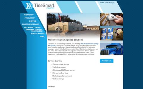 Screenshot of Home Page tidesmartlogistics.com - Maine Storage and Logistics Solutions | TideSmart Logistics, Falmouth, Maine - captured March 2, 2016