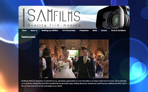 Screenshot of Testimonials Page samfilms.co.uk - Testimonials | samfilms.co.uk - captured Sept. 30, 2014