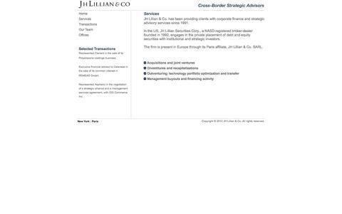 Screenshot of Services Page jhlillian.com - JH Lillian & Co. // Services - captured Feb. 3, 2016