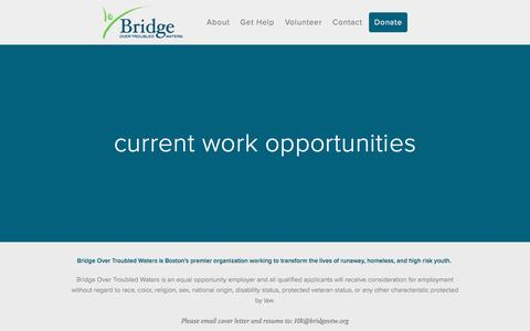Screenshot of Jobs Page bridgeotw.org - Current Work Opportunities — Bridge Over Troubled Water - captured Nov. 23, 2016