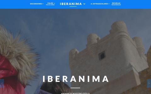 Screenshot of Home Page iberanima.com - Excursiones, Campamentos, Actividades Extraescolares y Escuelas Vacacionales. - captured Jan. 8, 2016
