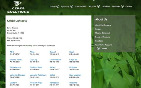 Screenshot of Contact Page ceresllp.com - Ceres Solutions Office Contacts - captured Oct. 2, 2014