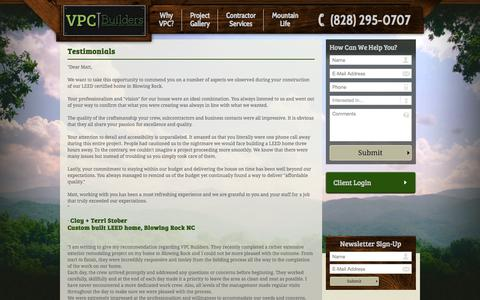 Screenshot of Testimonials Page vpcbuilders.com - Testimonials - VPC Builders LLC - captured Aug. 12, 2015
