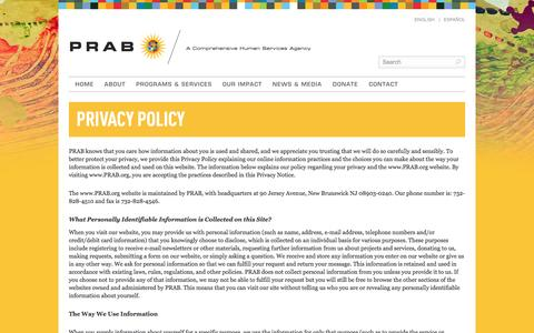 Screenshot of Privacy Page prab.org - Privacy Policy | PRAB - captured Jan. 23, 2016