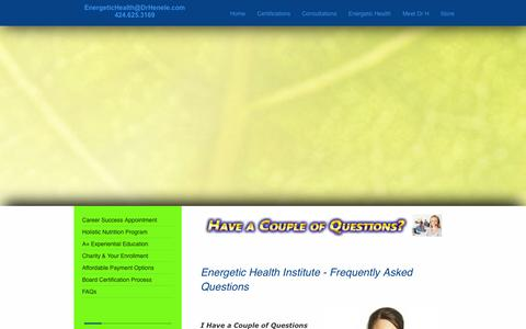 Screenshot of FAQ Page drhenele.com - Energetic Health Institute - New Students FAQs - captured Oct. 2, 2014