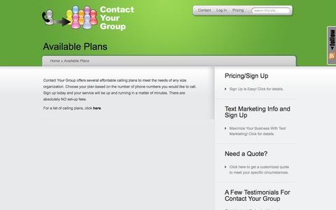 Screenshot of Pricing Page contactyourgroup.com - Available Plans | Contact Your Group - captured Nov. 11, 2016